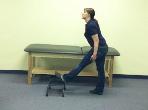 Standing Hamstring Stretch with step at Kinesis Physical Therapy
